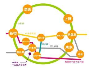 六本木レンタルスタジオの路線図